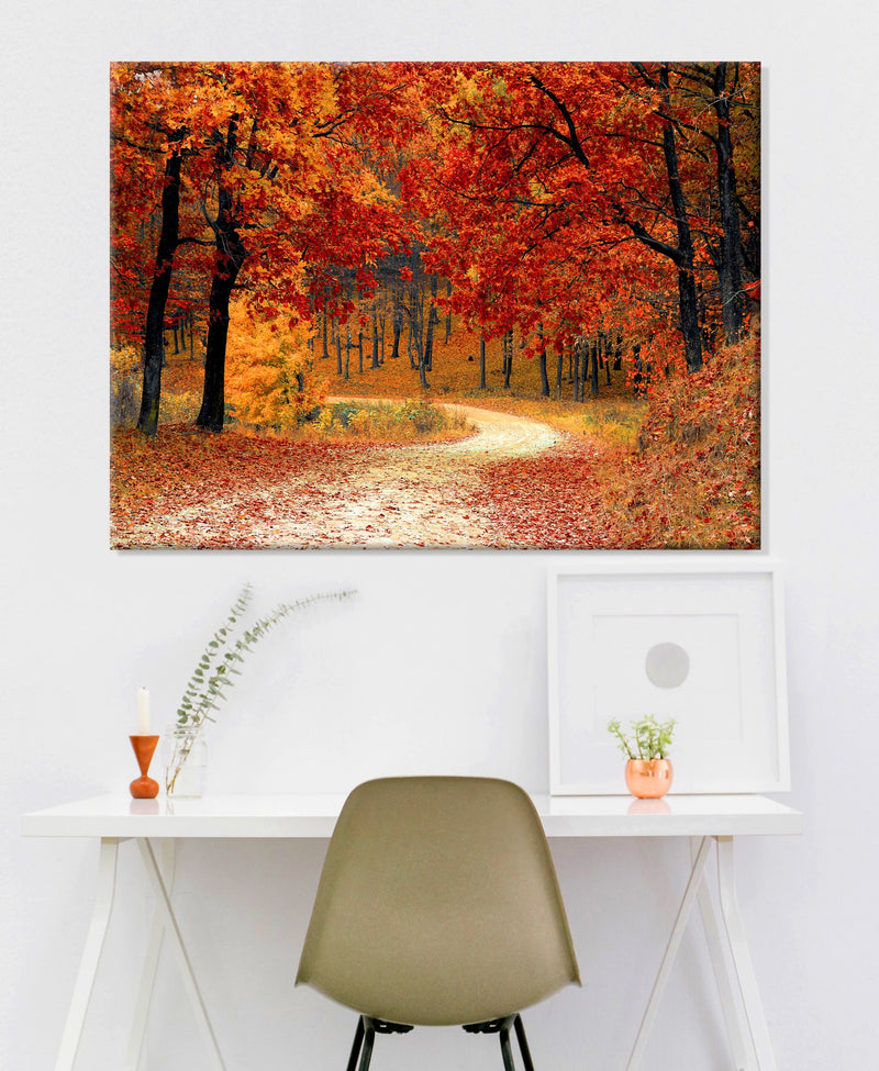 Road Wall Art: Fall Forest 2 (Wood Frame Ready To Hang)