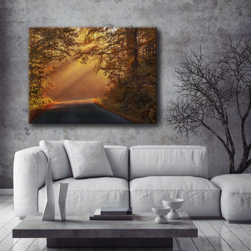 Road Wall Art:  Sun Glow Street (Wood Frame Ready To Hang)