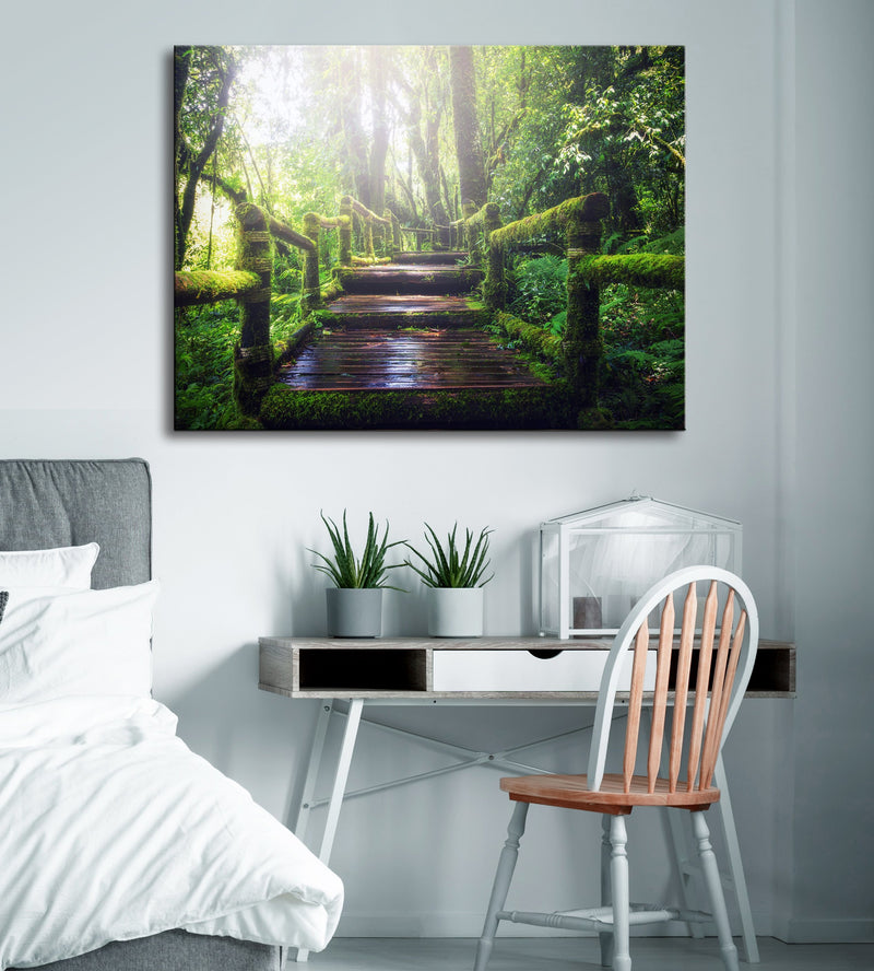 Road Wall Art:  Enchanted Sunlight Forest (Wood Frame Ready To Hang)