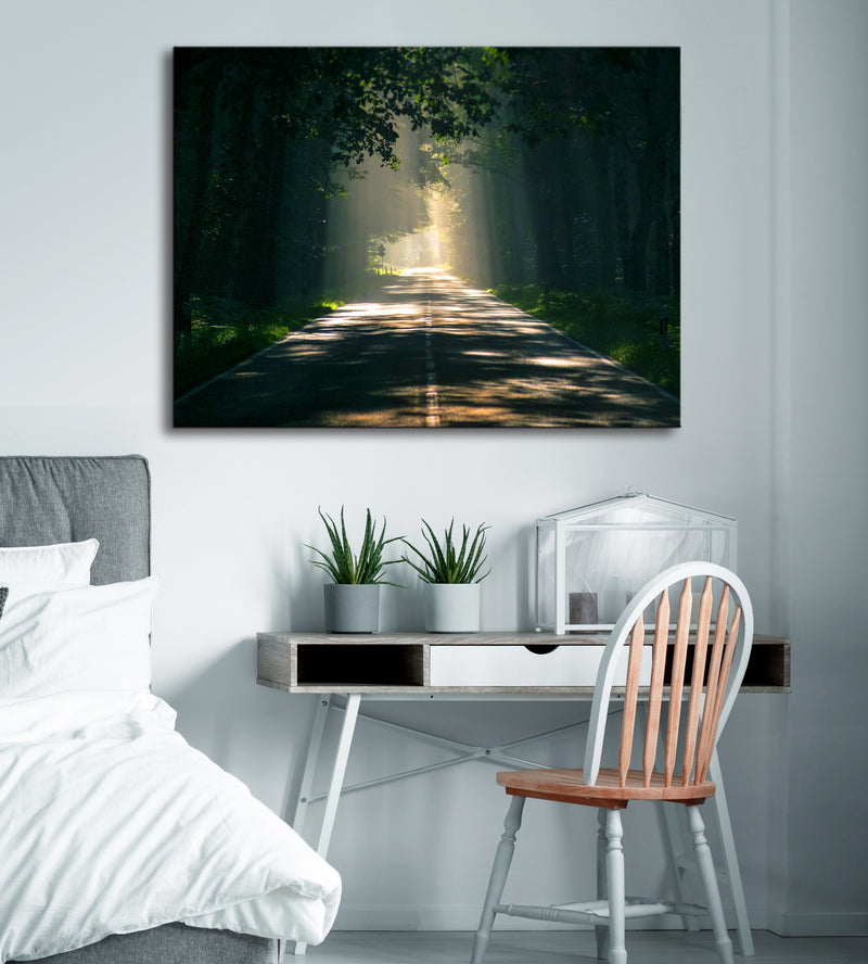 Road Wall Art: Mystery Sunlight Road (Wood Frame Ready To Hang)