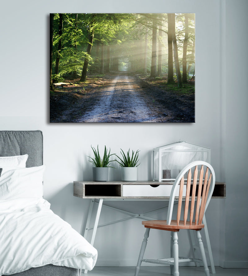 Road Wall Art: Morning Glowy Road (Wood Frame Ready To Hang)