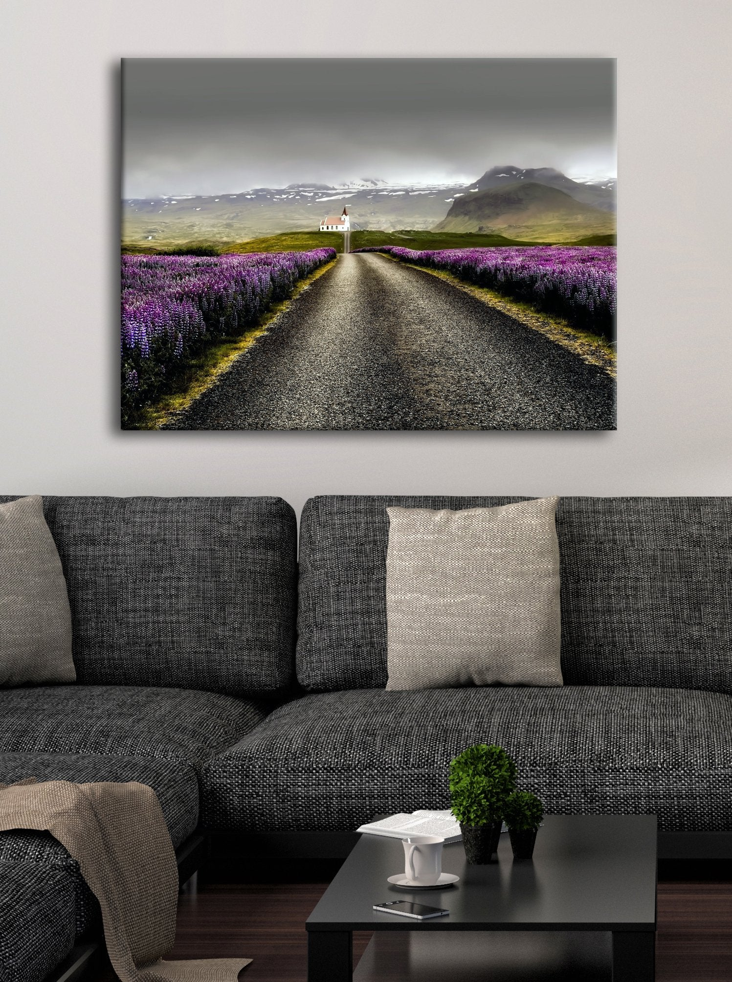 Road Wall Art: White Church Road (Wood Frame Ready To Hang)