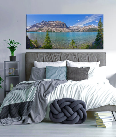 Home Wall Art: Rocky Mountains By The Lake (Wood Frame Ready To Hang)