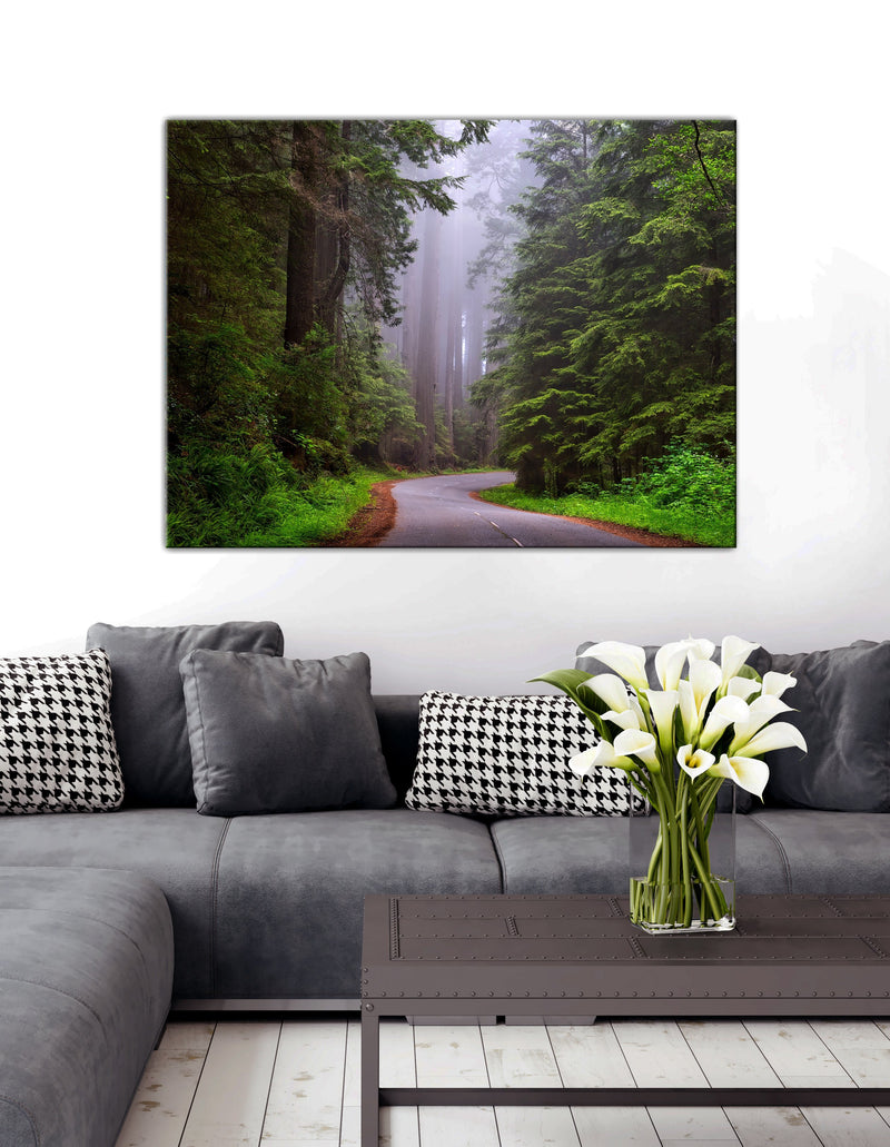Road Wall Art: Foggy Forest Road (Wood Frame Ready To Hang)