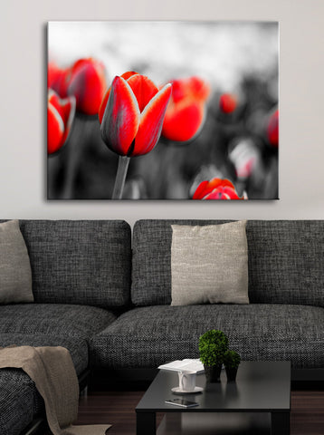 Flower Wall Art: Red Tulips (Wood Frame Ready To Hang)