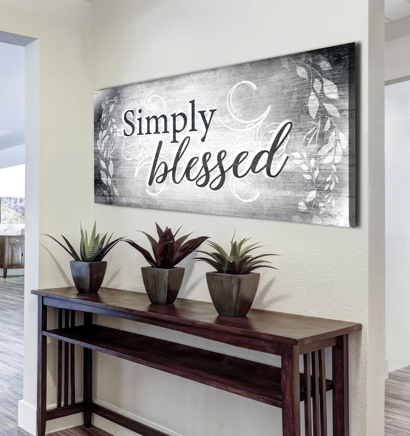 Christian Wall Art: Simply Blessed V4 (Wood Frame Ready To Hang)