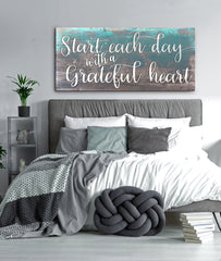 Home Decor Wall Art: Start Each Day With A Grateful Heart (Wood Frame Ready To Hang)