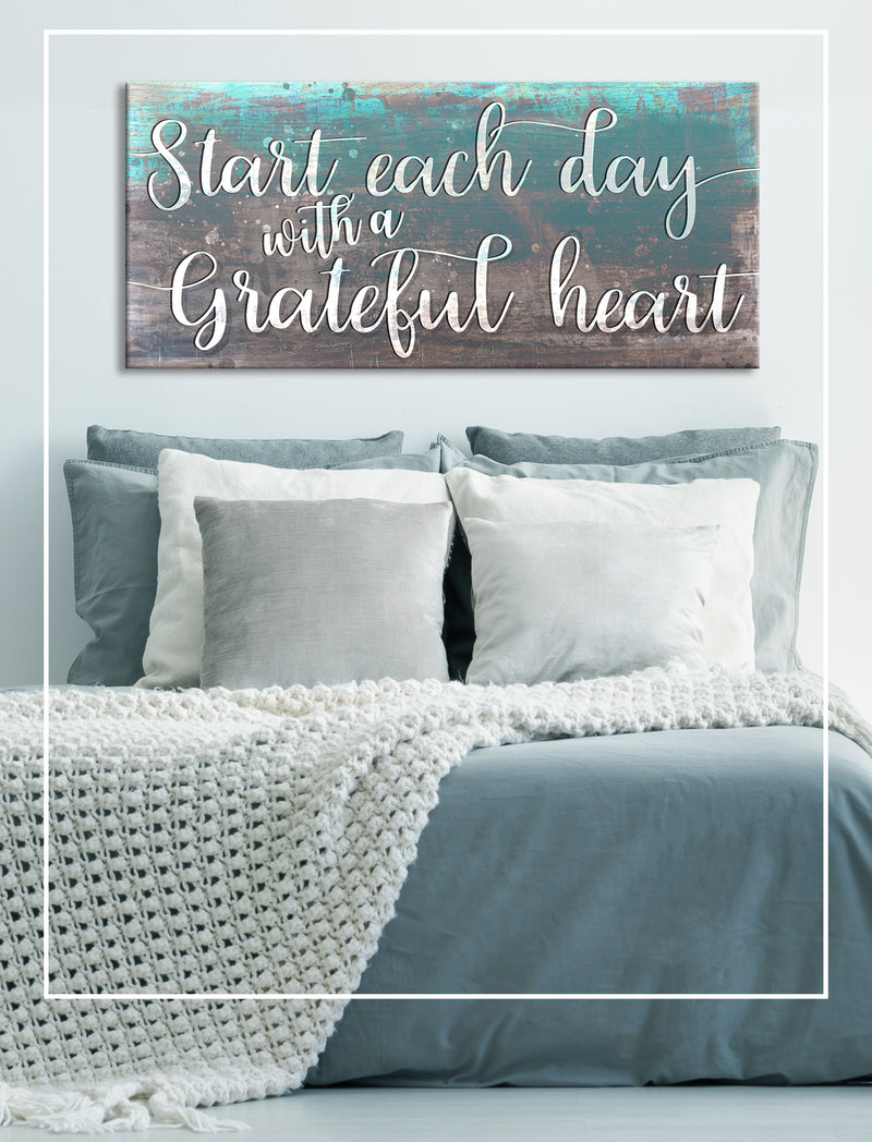 Home Wall Art: Start Each Day With A Grateful Heart (Wood Frame Ready To Hang)
