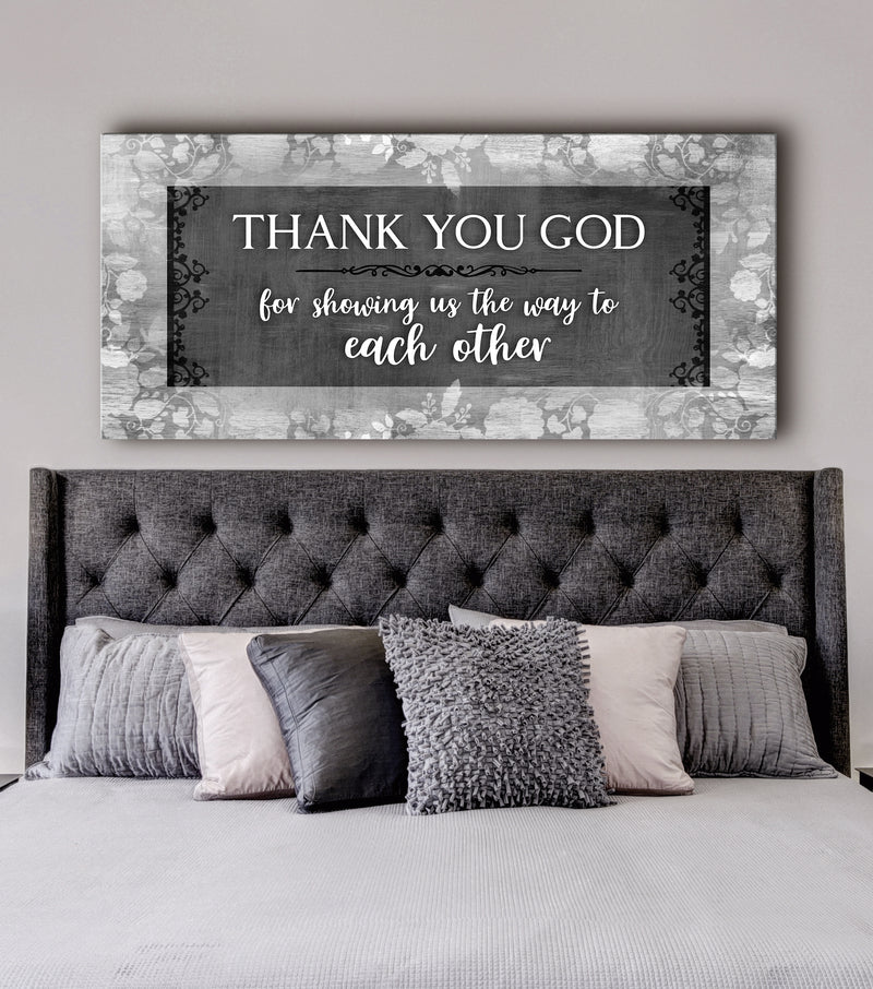 Christian Wall Art: Thank You God For Showing Us The Way (Wood Frame Ready To Hang)