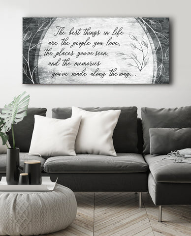 Home Decor Wall Art: The best things in life are the people you love (Wood Frame Ready To Hang)