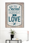 Kitchen Wall Art: The Secret Ingredient Is Love (Wood Frame Ready To Hang)