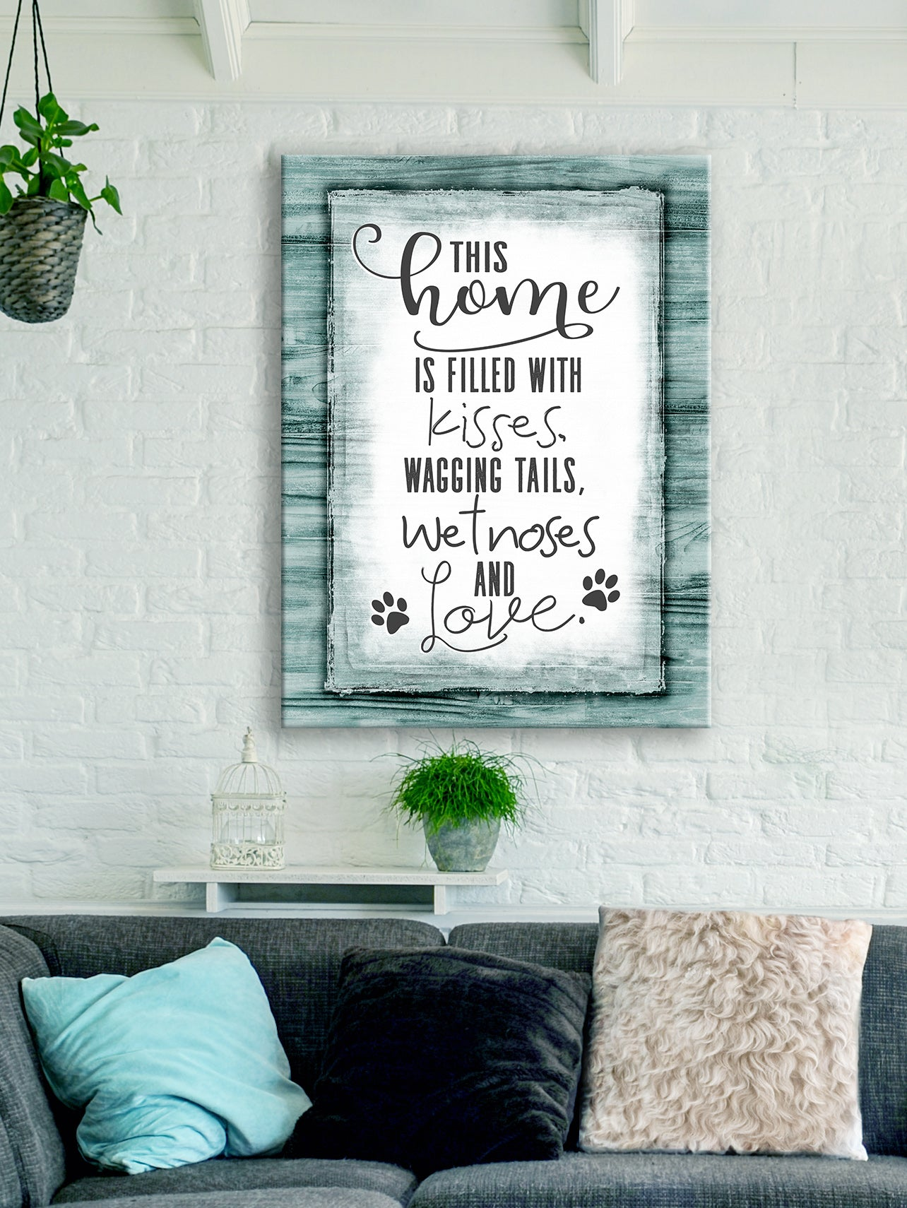 Pet Lovers Wall Art: This Home Is Filled With Kisses V2 (Wood Frame Ready To Hang)