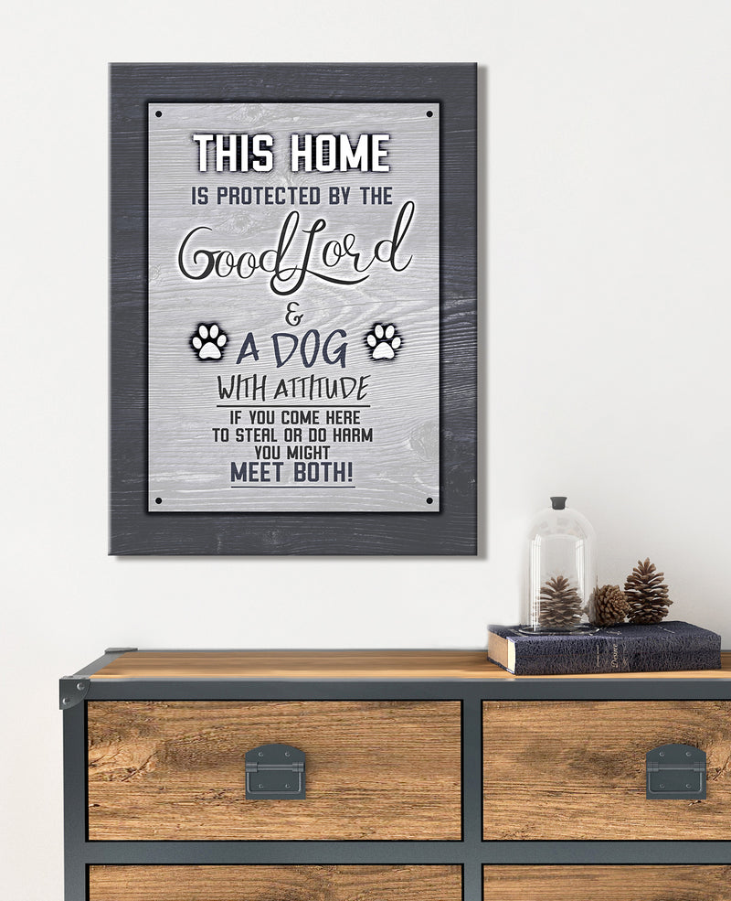Pet Wall Art: This Home Is Protected Dog (Wood Frame Ready To Hang)