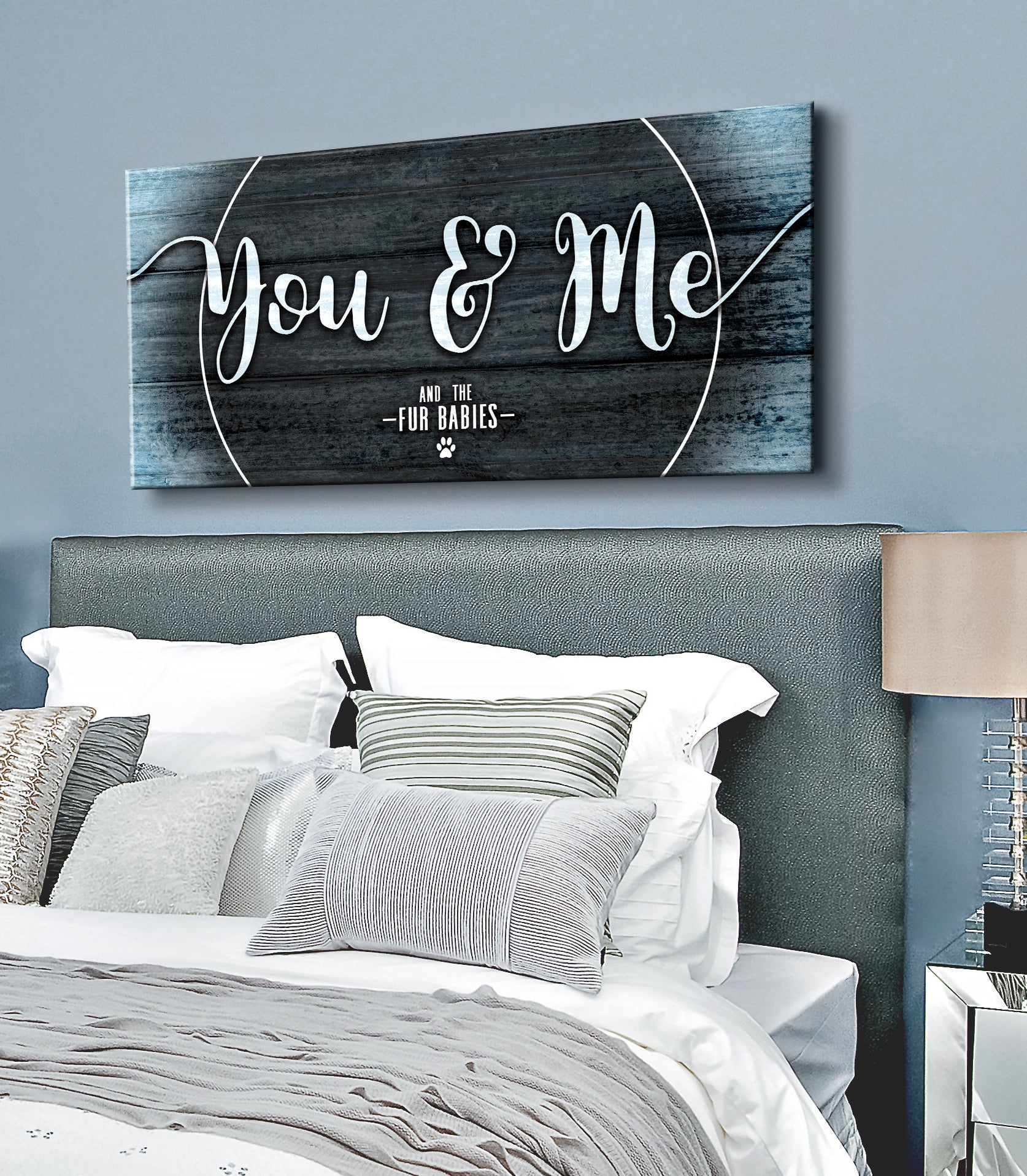 Pet Wall Art: You & Me and the fur babies (Wood Frame Ready To Hang)