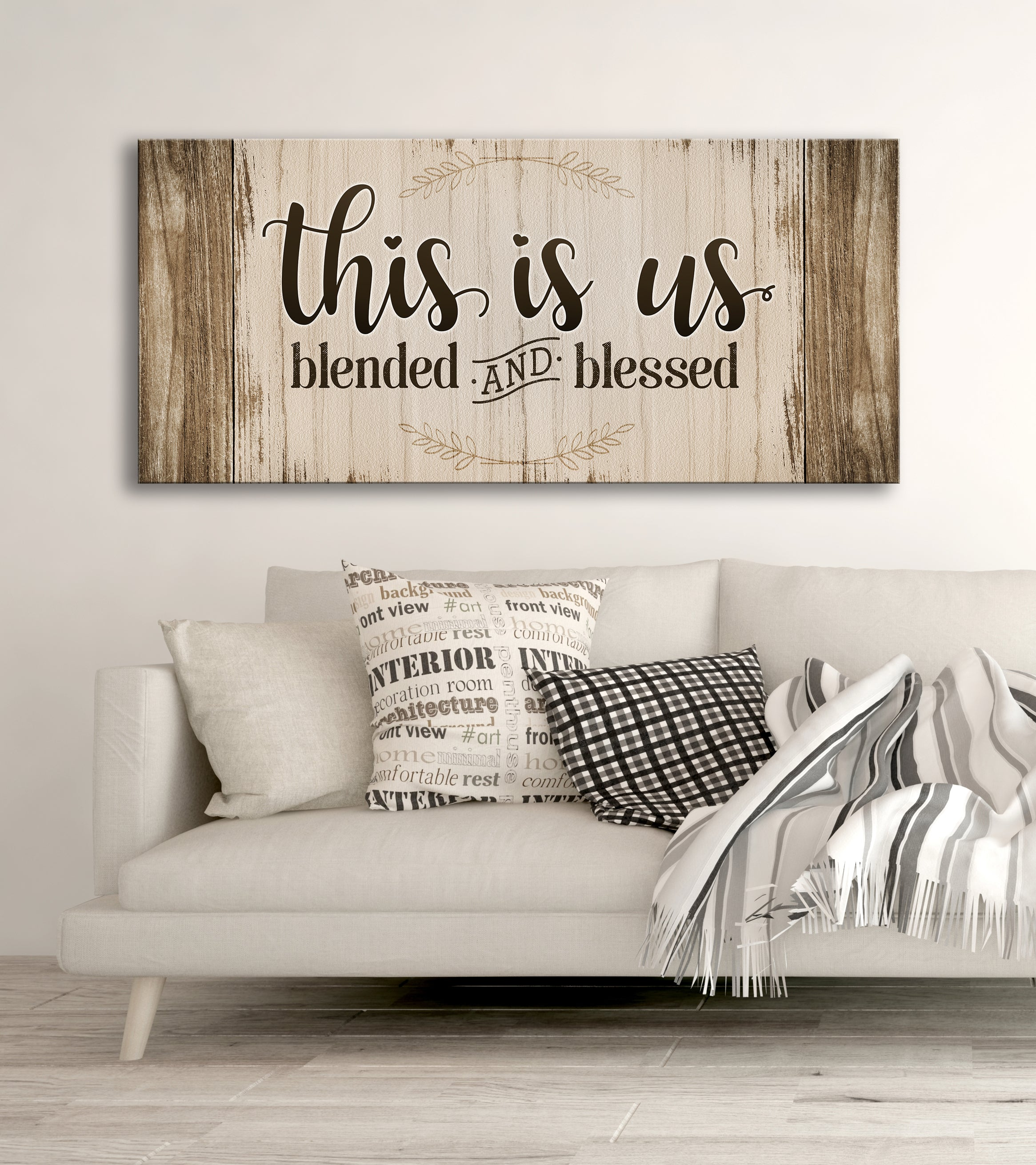 BLENDED AND BLESSED ELEGANT GIFT SHABBY CHIC SIGN THIS IS US