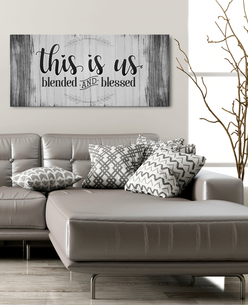 Family Wall Art: This Is Us Blended And Blessed (Wood Frame Ready To Hang)
