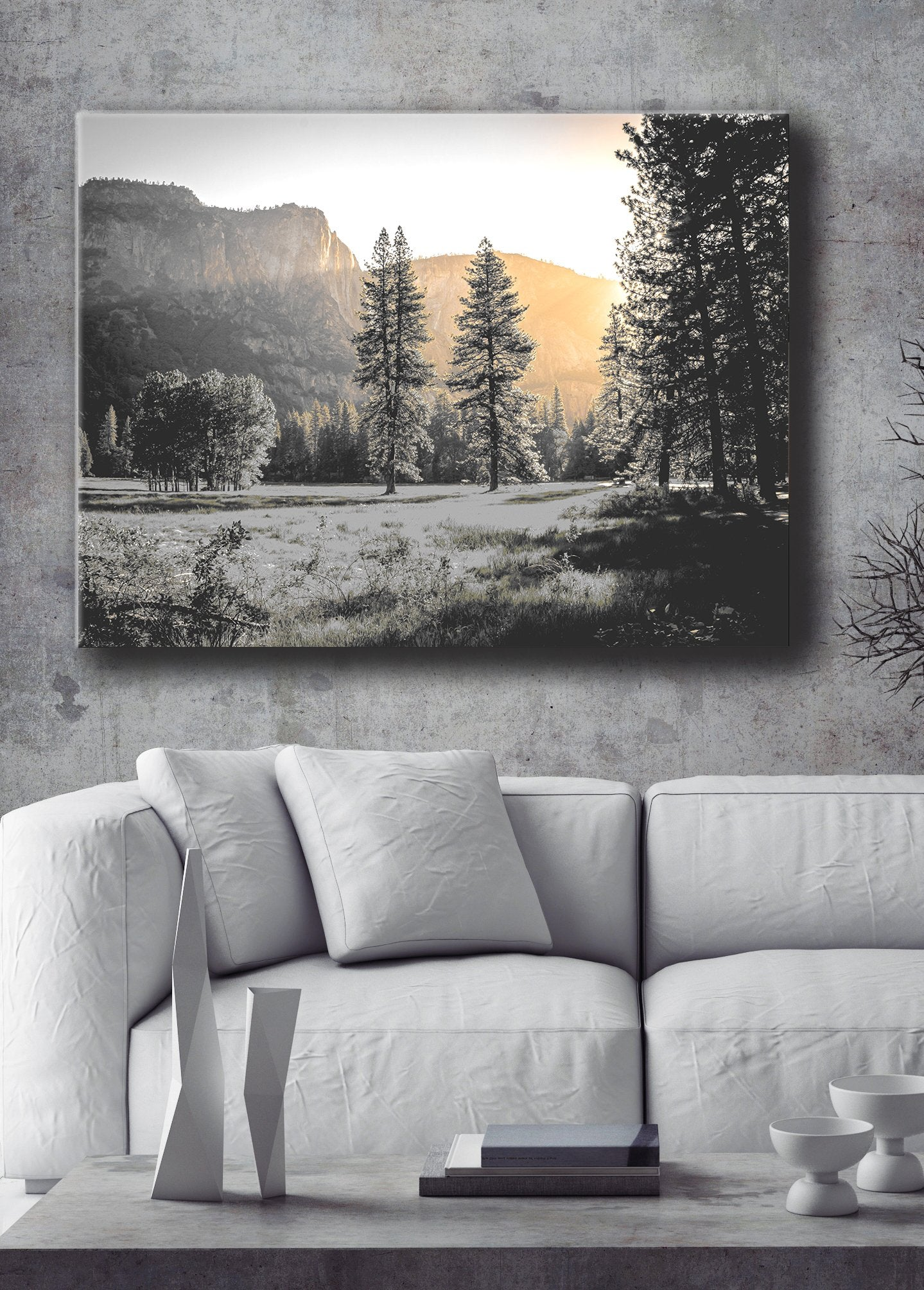 Nature Wall Art: Tree Mountain Gold Light  (Wood Frame Ready To Hang)