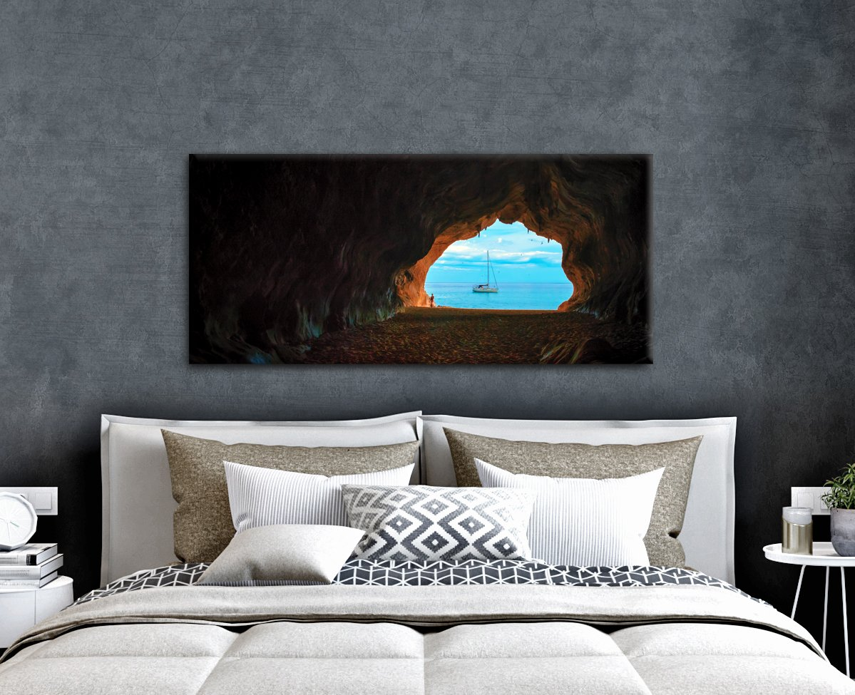 Beach Wall Art: Beach Cave (Wood Frame Ready To Hang)