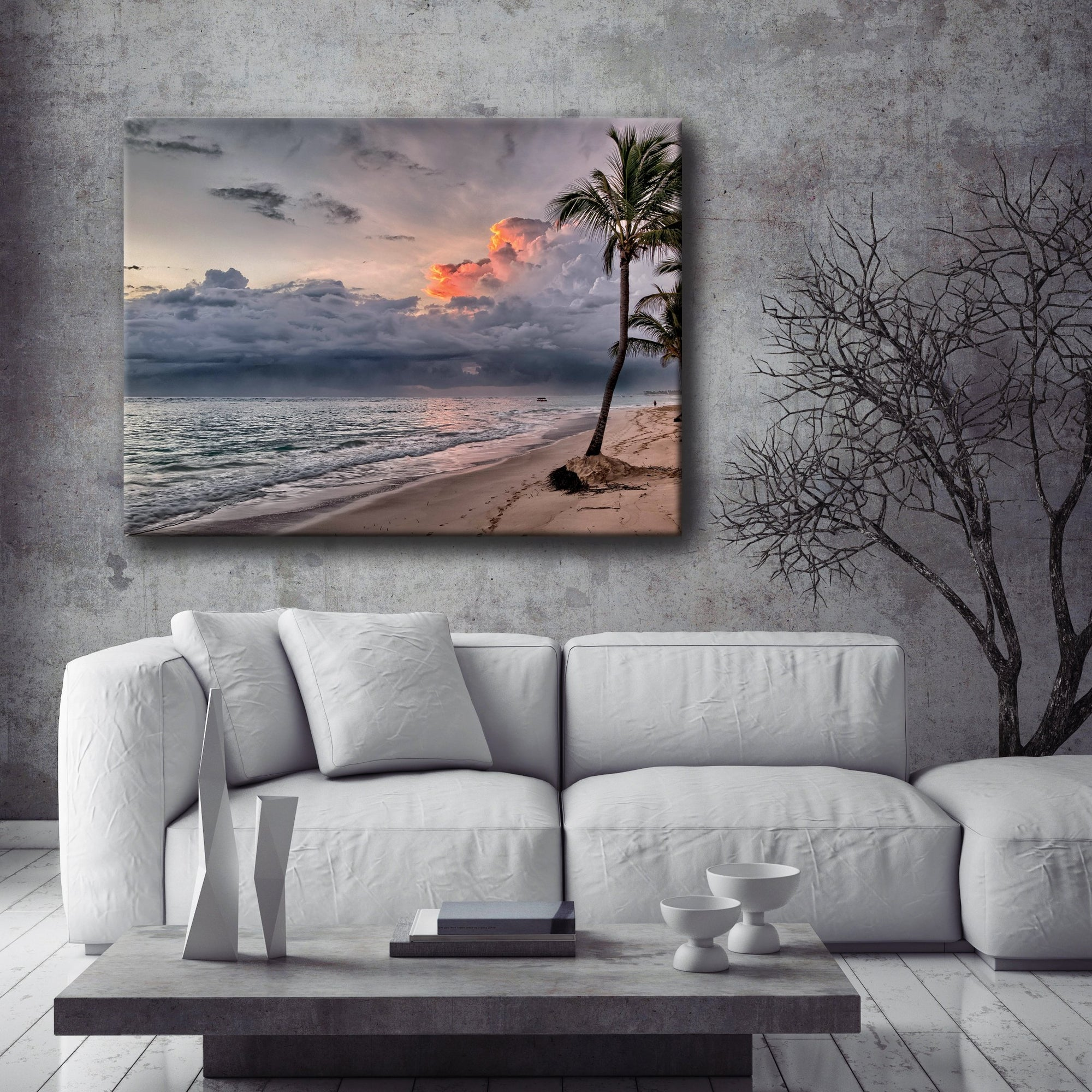 Beach Wall Art: Grey Palm Beach (Wood Frame Ready To Hang)