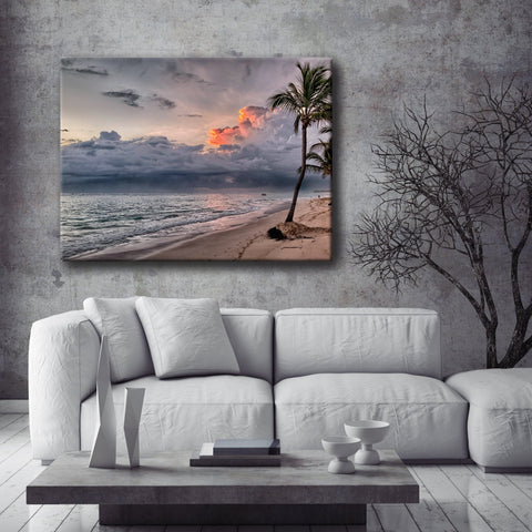 Beach Home Decor Wall Art:  Grey Palm Beach (Wood Frame Ready To Hang)