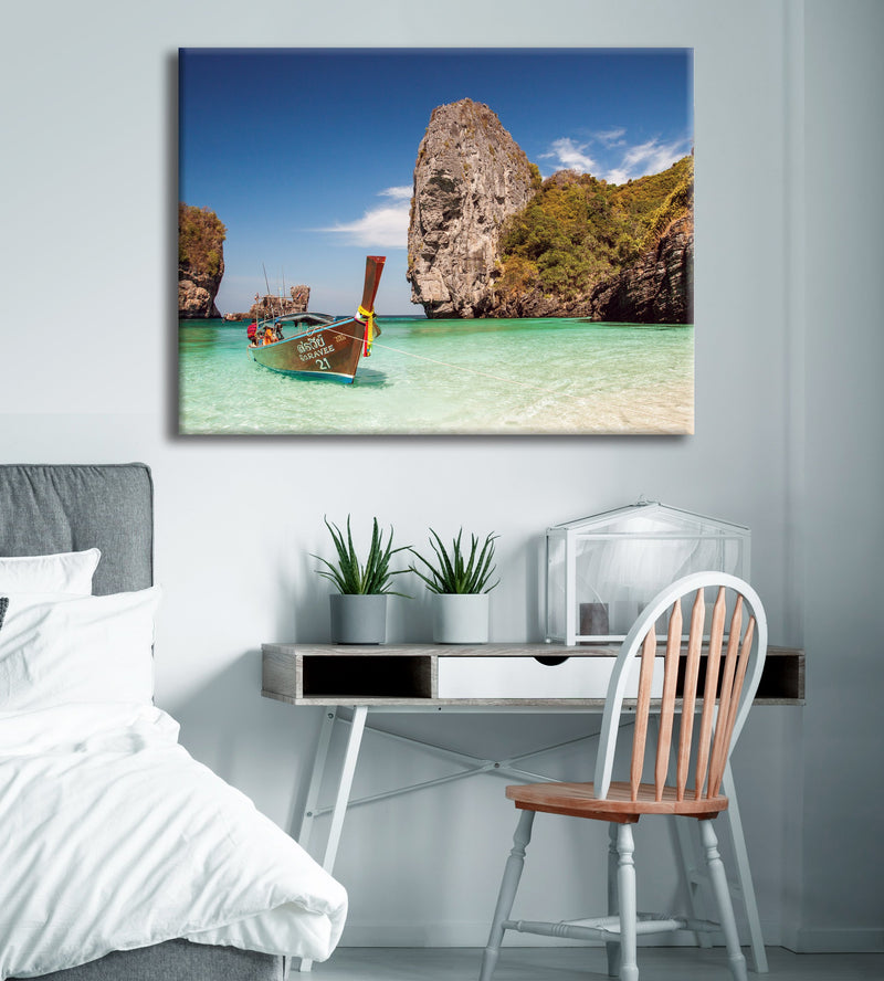 Beach Wall Art: Clear Water Boat (Wood Frame Ready To Hang)