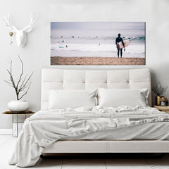 Beach Home Decor Wall Art:  Surf Waves (Wood Frame Ready To Hang)