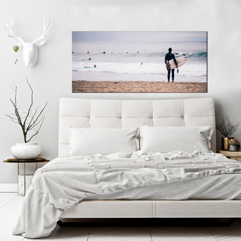 Beach Wall Art: Surf Waves (Wood Frame Ready To Hang)