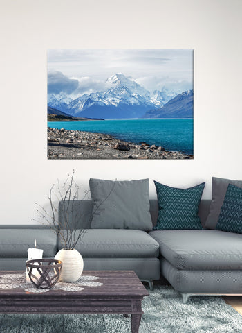 Beach Home Decor Wall Art:  Clear Blue Mountains (Wood Frame Ready To Hang)