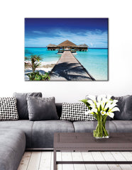 Beach Home Decor Wall Art:  Paradise (Wood Frame Ready To Hang)