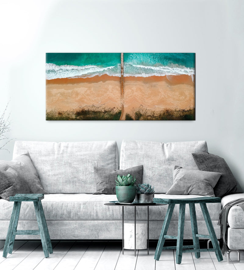 Beach Wall Art: Sand Ocean Waves (Wood Frame Ready To Hang)
