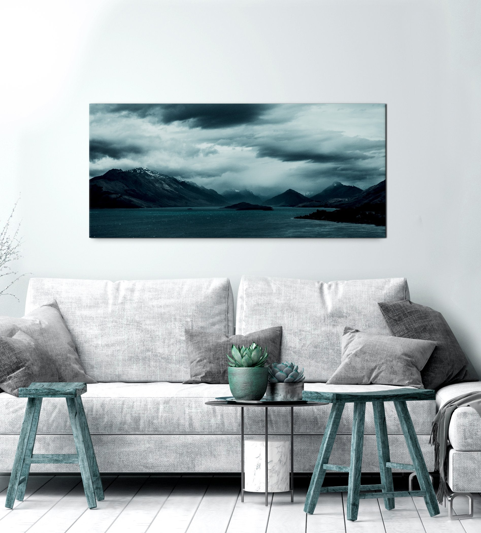 Beach Wall Art: Dark Cloud Lake (Wood Frame Ready To Hang)