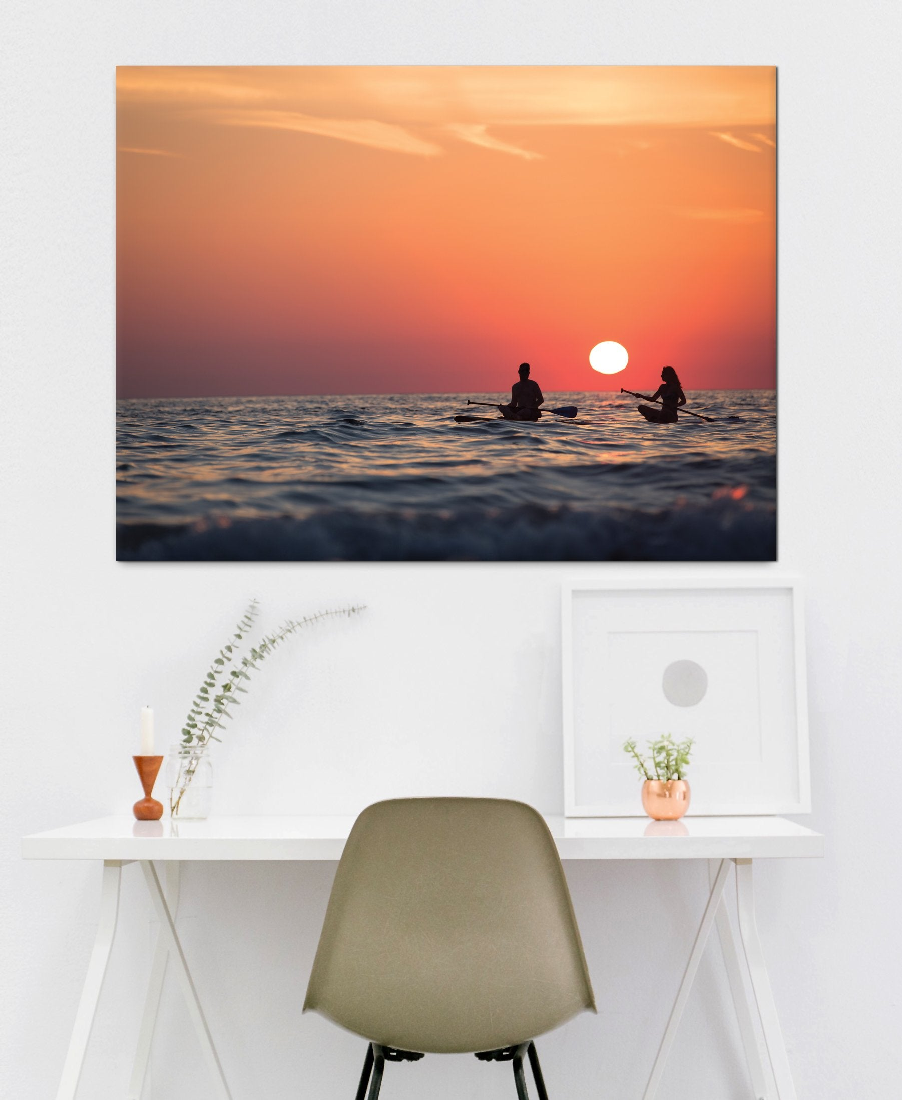 Beach Wall Art: Kayak Sunset (Wood Frame Ready To Hang)