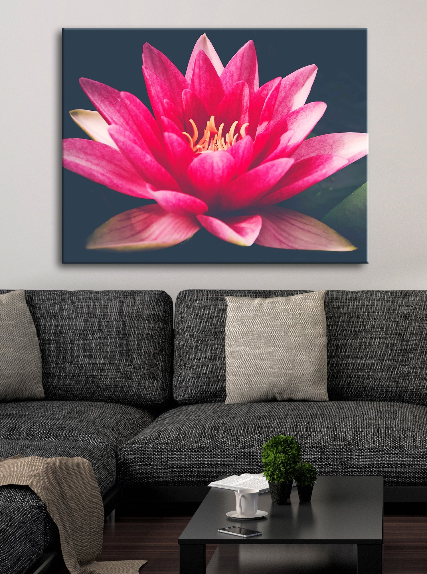 Flower Wall Art: Waterlily Pink (Wood Frame Ready To Hang)