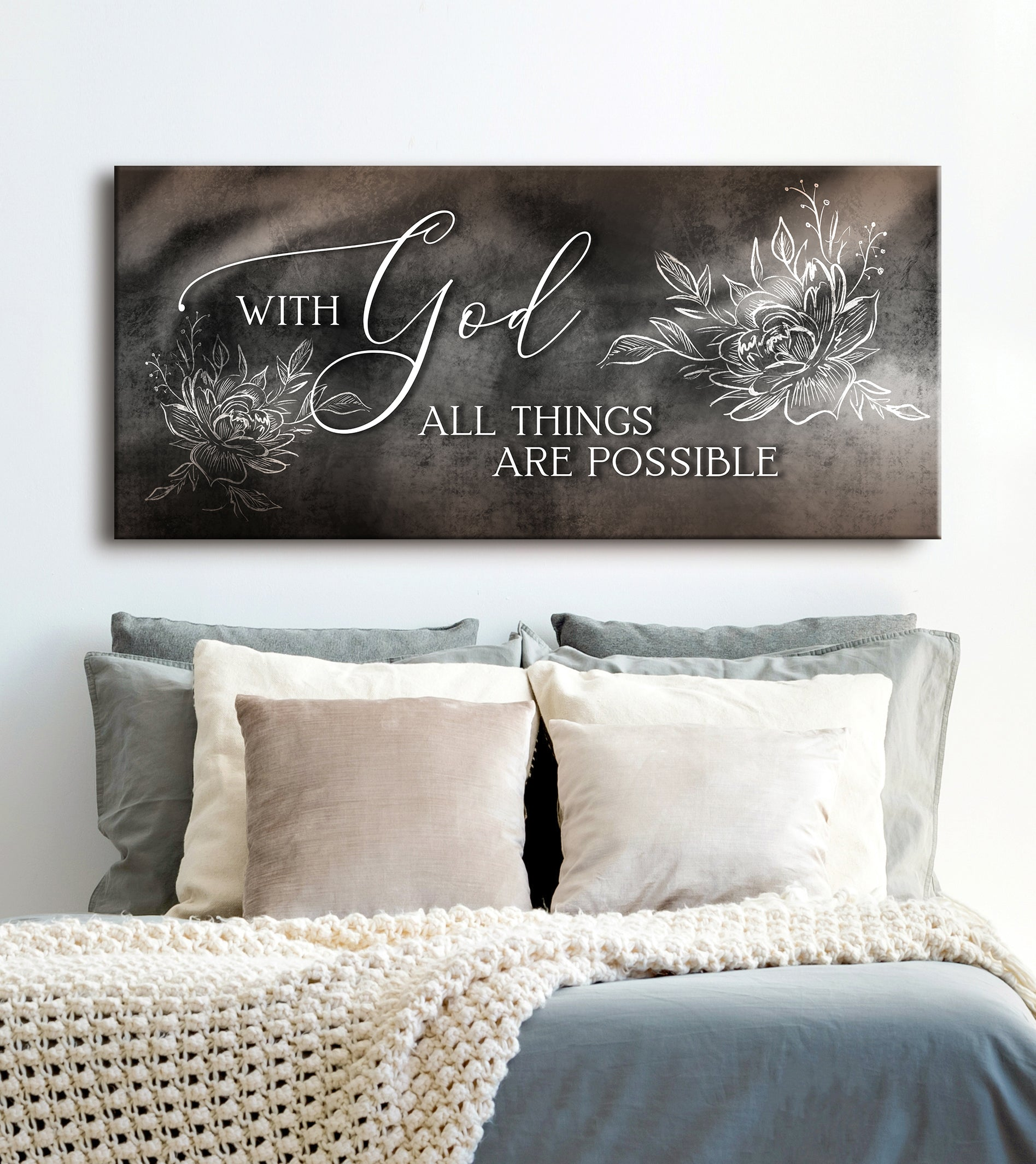 Christian Wall Art: With God All Things Are Possible V2 (Wood Frame Ready To Hang)