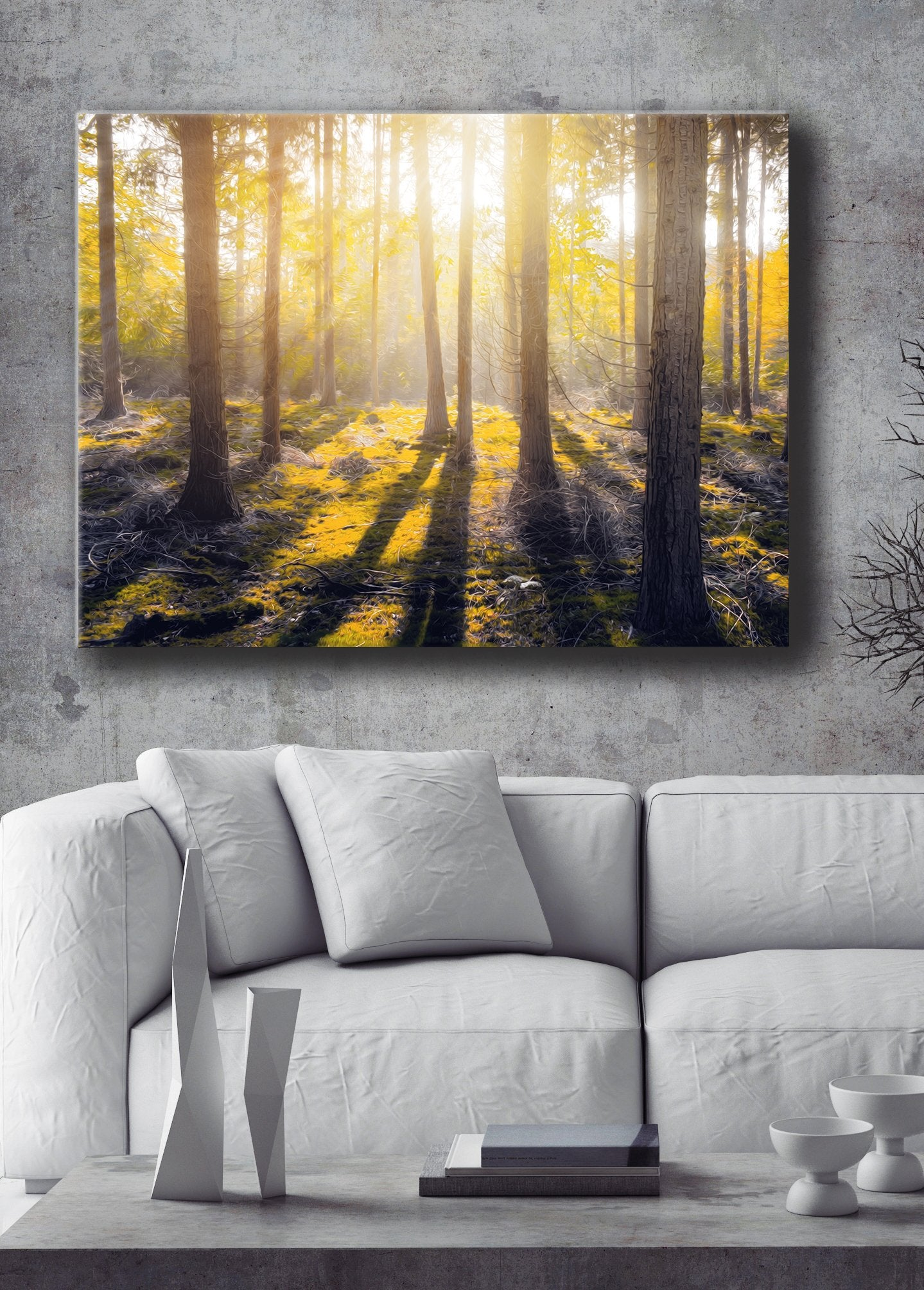 Nature Wall Art: Yellow Forest Floor With Sun  (Wood Frame Ready To Hang)