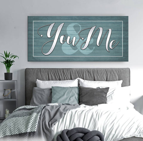 Bedroom Decor Wall Art: You & Me V2 (Wood Frame Ready To Hang)