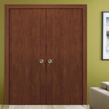 SARTODOORS Planum 0010 Modern Interior Closet Sliding Flush Double Pocket Doors Walnut Modena with Frames Tracks Hardware Set