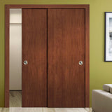 SARTODOORS Planum 0010 Interior Closet Sliding Solid Wood Bypass Doors Walnut Modena with Track Hardware Set