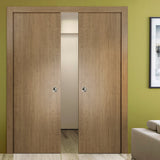 SARTODOORS Planum 0010 Modern Interior Closet Sliding Flush Double Pocket Doors Smoky Walnut with Frames Tracks Hardware Set