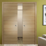 SARTODOORS Planum 0010 Modern Interior Closet Sliding Flush Double Pocket Doors Honey Ash with Frames Tracks Hardware Set