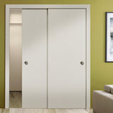 SARTODOORS Planum 0010 Interior Closet Sliding Solid Wood Bypass Doors Patina Antique with Track Hardware Set