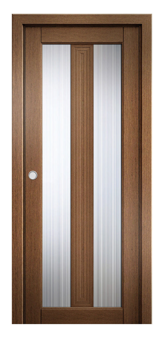 Sarto Ego 6122 Interior Pocket Door Honey Oak Rain Glass