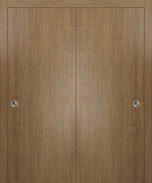 SARTODOORS Planum 0010 Interior Closet Sliding Solid Wood Bypass Doors Smoky Walnut with Track Hardware Set