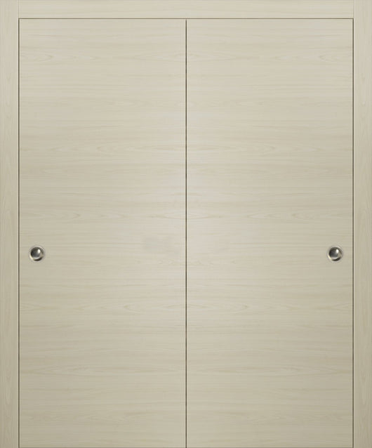 SARTODOORS Planum 0010 Interior Closet Sliding Solid Wood Bypass Doors Milk Ash with Track Hardware Set