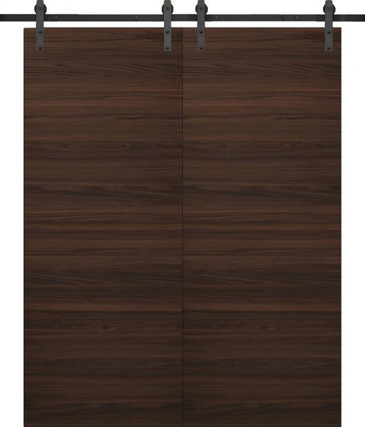 SARTODOORS Planum 0010 Modern Interior Solid Wood Flush Closet Double Barn Doors Chocolate Ash with Track 13FT Rail Hardware Set