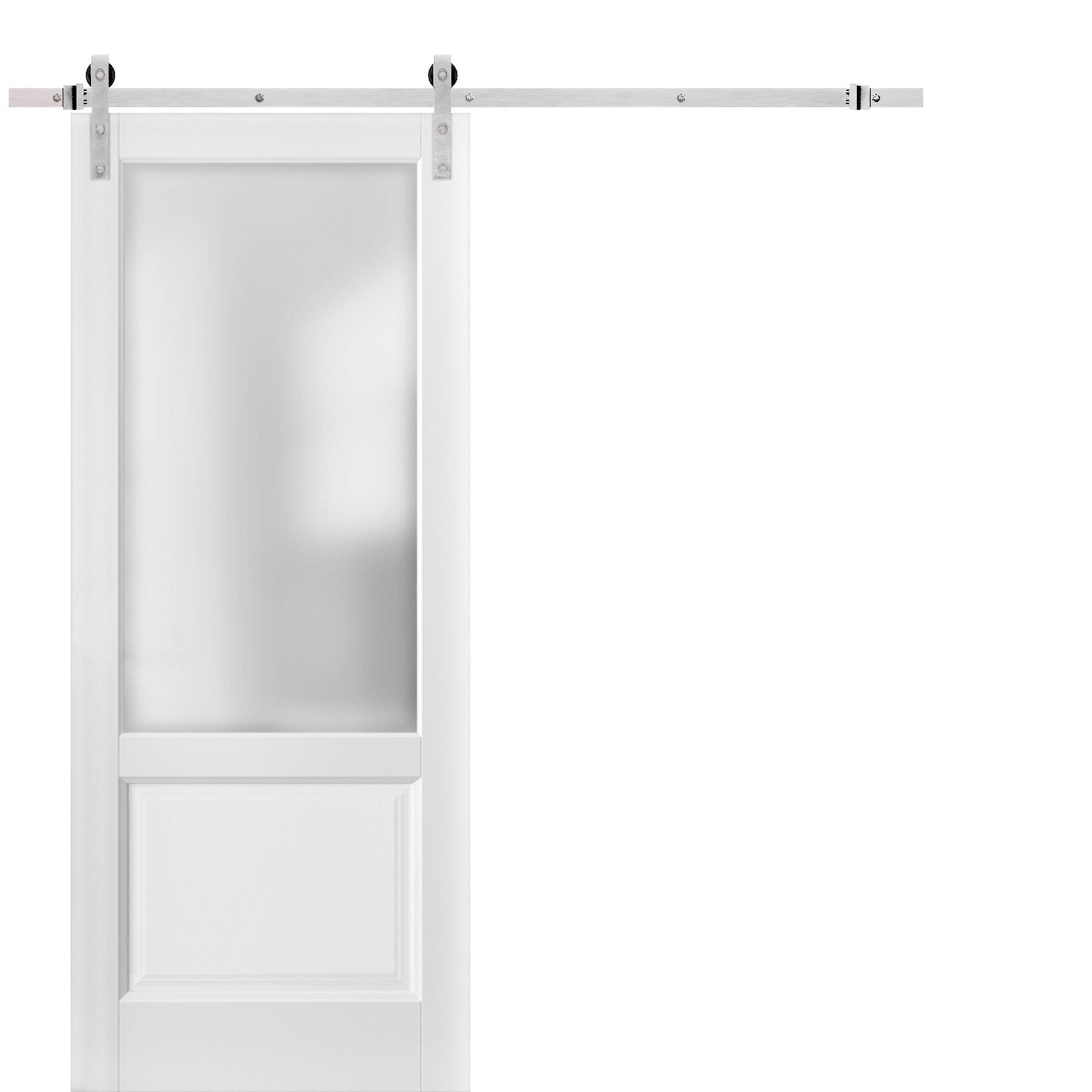 Sliding Barn Door With Stainless Steel 6 6ft Hardware Lucia 22 White Silk With Frosted Opaque Glass Top Mount Rail Hangers Sturdy Silver Set