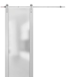 Sturdy Barn Door Frosted Glass with Hardware | Planum 4114 White Silk | Top Mount Stainless Steel 6.6FT Rail Hangers Heavy Set | Modern Solid Panel Interior Doors