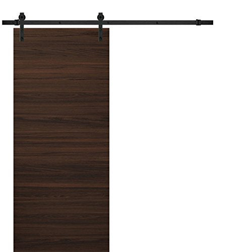 Planum 0010 Sliding Wood Flush Solid Brown Barn Door Chocolate Ash And  Steel Rail Track 6.6FT