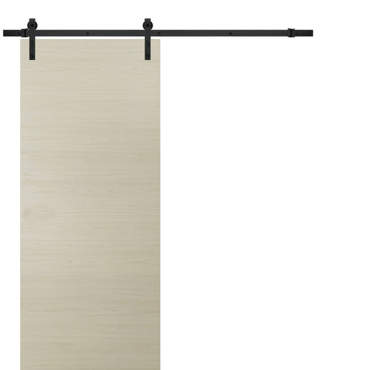 Planum 0010 Sliding Wood Modern Barn Door Milk Ash with Track 6.6 FT