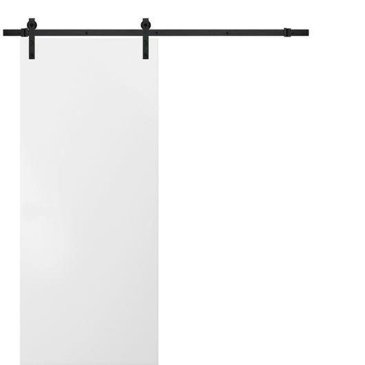 Planum 0010 Sliding Wood Flush Barn Door White Silk with Track 6.6 FT